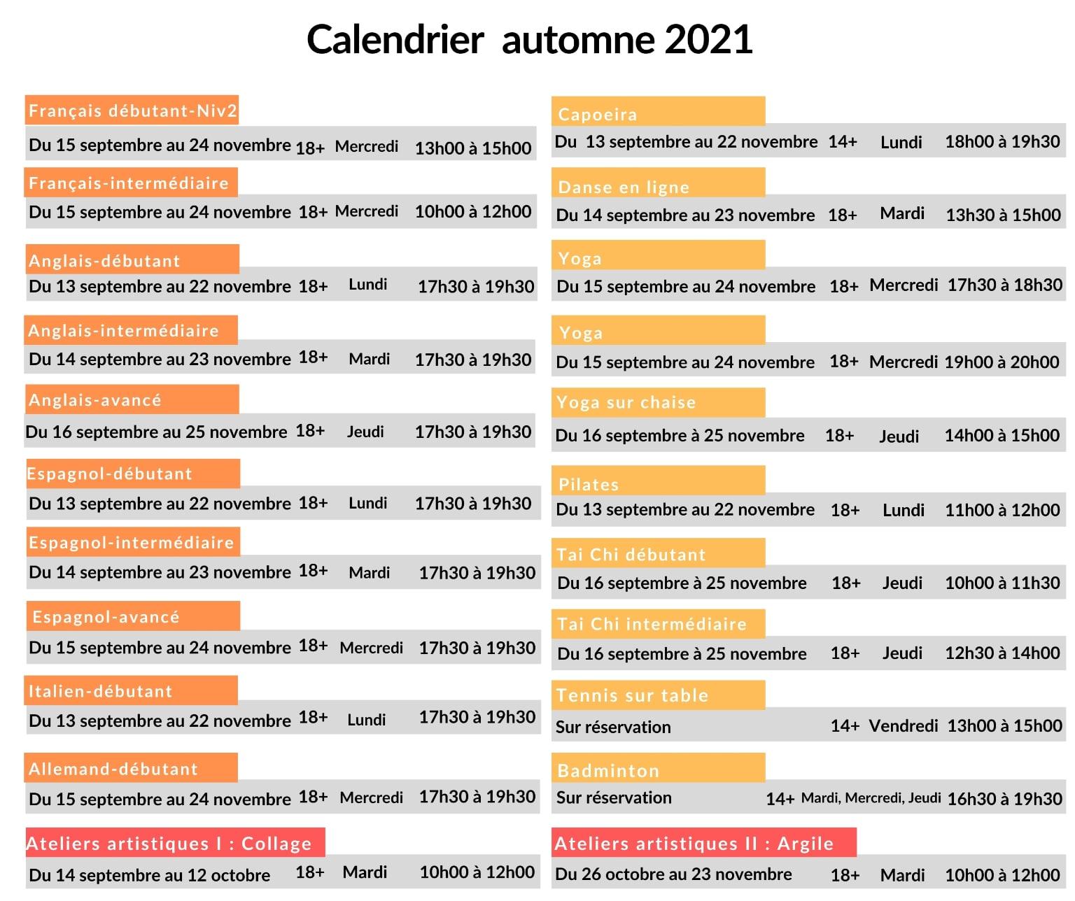 Horaire automne 2021